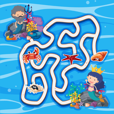 Maze game template with mermaids under the sea illustration