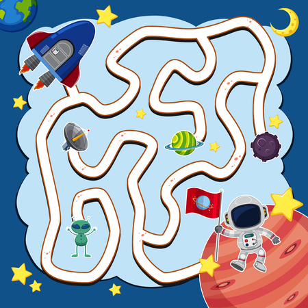 Maze game template with spaceship in space illustration Vectores