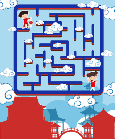 Maze game template with chinese boy and girl illustration Stock Illustratie