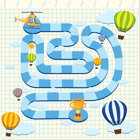Puzzle game template with helicopter and balloons in sky illustration