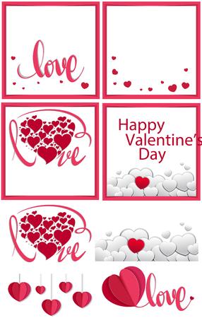 Valentine card template in different designs illustration