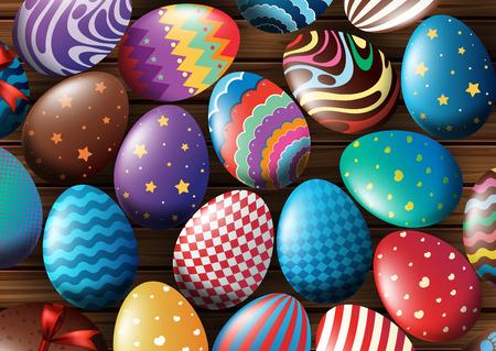 Background design with decorated eggs illustration Illustration