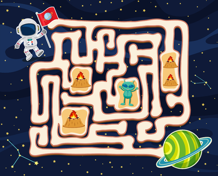Maze game template with alien in space illustration