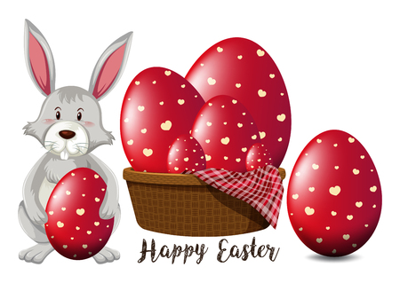 Easter poster design with red eggs and bunny illustration Vetores
