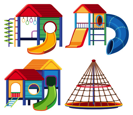 Four designs of playhouse with slide and climbing pole illustration