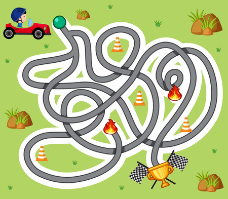 Maze game template with boy in racing car illustration