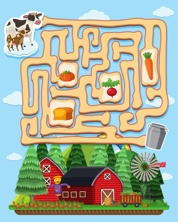 Puzzle game template with cows and barns illustration