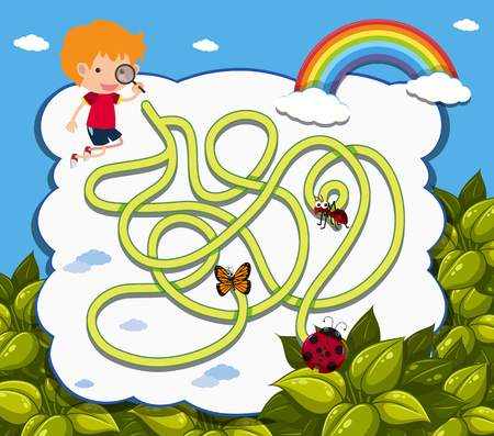 Maze game template with boy and ladybug illustration