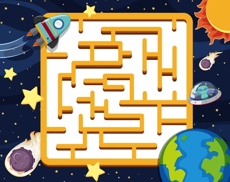 Puzzle game template with space background illustration Vectores
