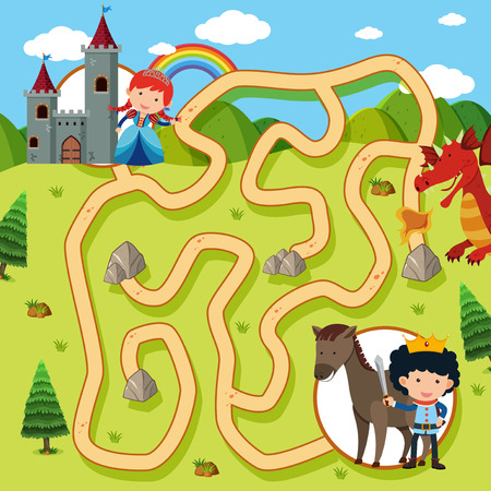 Maze game template with princess and knight illustration Ilustração