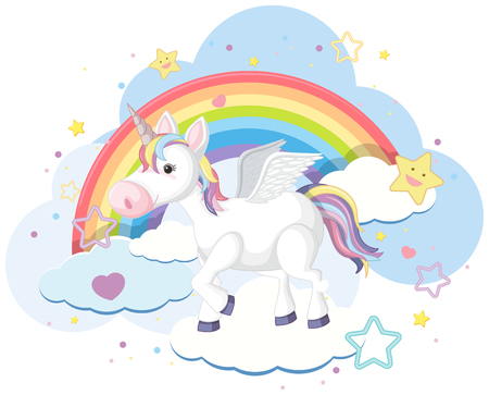 Cute creature with horn and wings illustration 일러스트