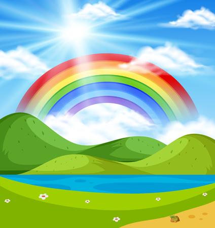 Escena de la naturaleza con arco iris sobre la ilustración de las colinas Ilustración de vector