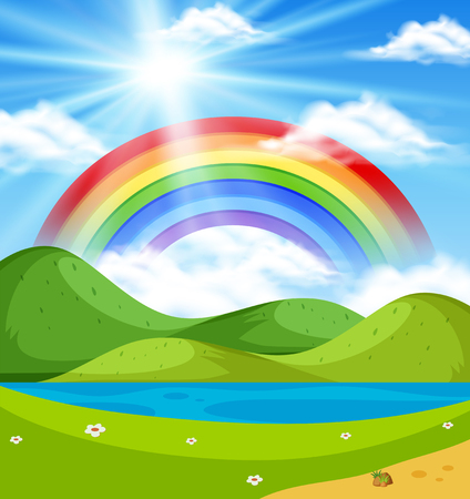 Nature scene with rainbow over the hills illustration
