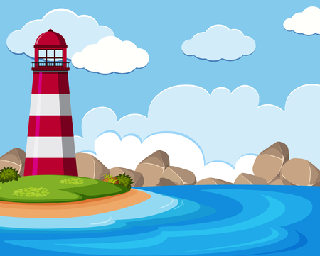 Background scene with lighthouse by the sea illustration Vectores