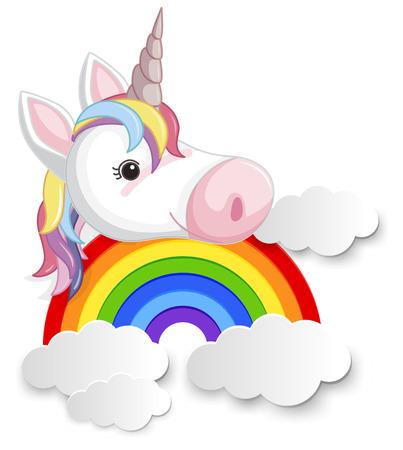 Unicorn head on the rainbow illustration