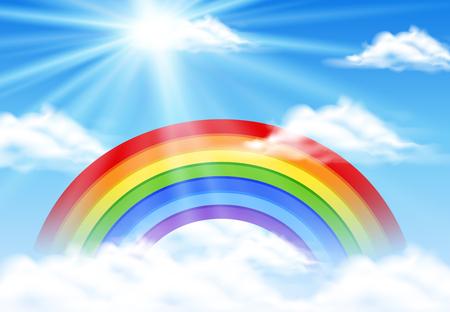 Colorful rainbow in blue sky illustration Illustration