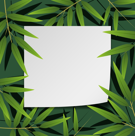 Border design with bamboo leaves illustration