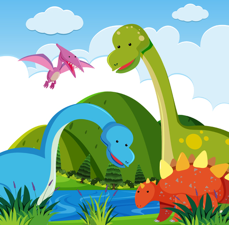 Many dinosaurs by the river illustration
