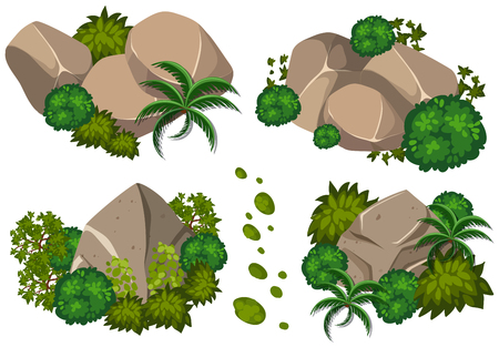 Four patterns of rocks and trees illustration
