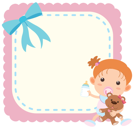 Border template with baby girl and teddy bear illustration Illustration