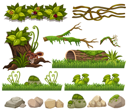 Nature elements with grass and rocks illustration