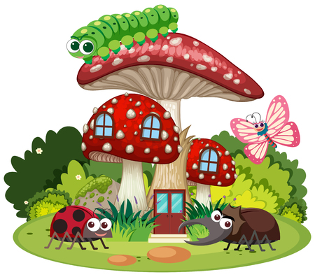 Four types of insects on mushroom house illustration