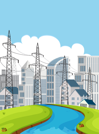 City scene with electricity poles and buildings illustration Vector Illustration