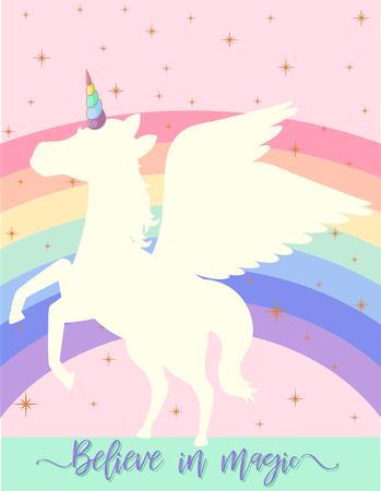 Poster design with unicorn on rainbow background illustration