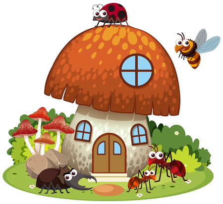 Many insects living in mushroom house illustration