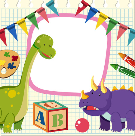 Border template with two dinosaurs illustration