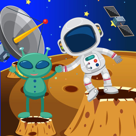 Astronaut and alien in space illustration
