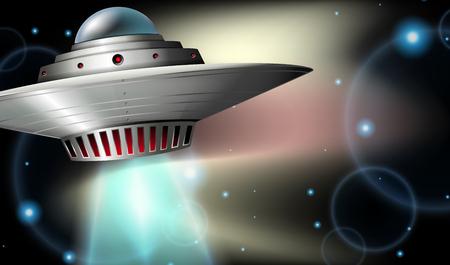Spaceship flying in dark space illustration