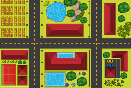 Aerial view of a neighborhood with houses and cars illustration Illustration
