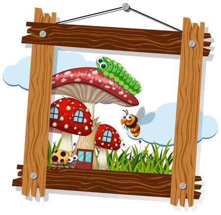 Wooden frame with bugs on mushroom house illustration