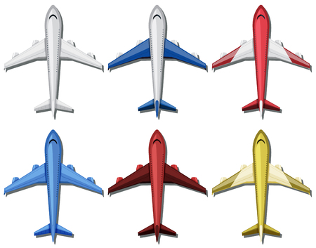 Airplane with six different colors illustration