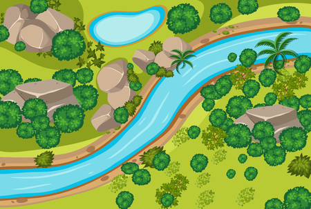 Aerial view of forest and river illustration Vectores