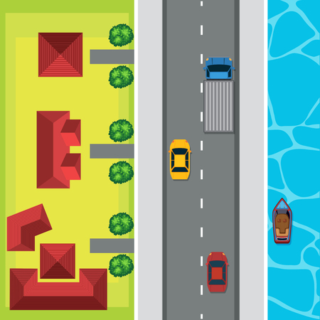 Aerial view of cars on the road illustration