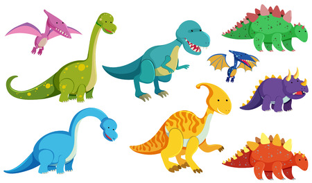 Different types of dinosaurs on white background illustration Illustration