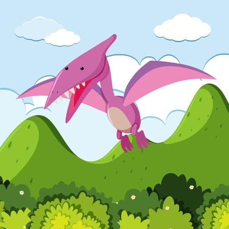Pterosaur flying over the mountain illustration Stock Vector - 96679343