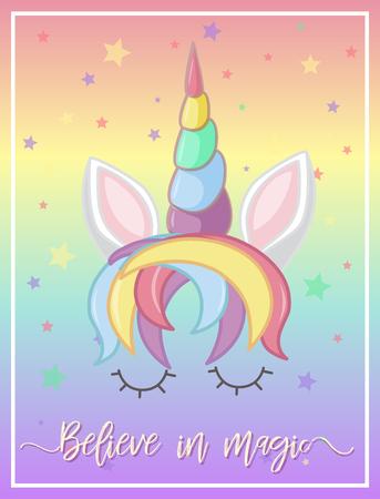 Rainbow unicorn on poster illustration Çizim
