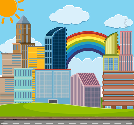 City scene with many buildings illustration