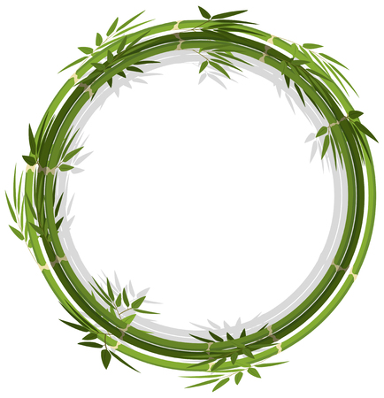 Round frame template with green bamboo illustration Stock Illustratie