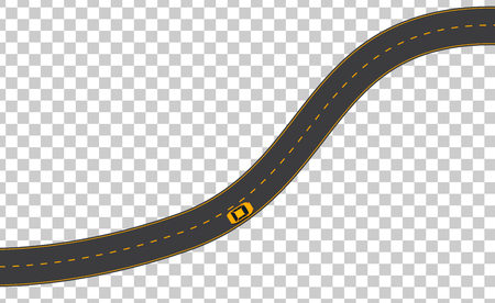 Yellow car on empty road illustration Illustration