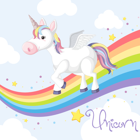 Cute unicorn standing on rainbow illustration