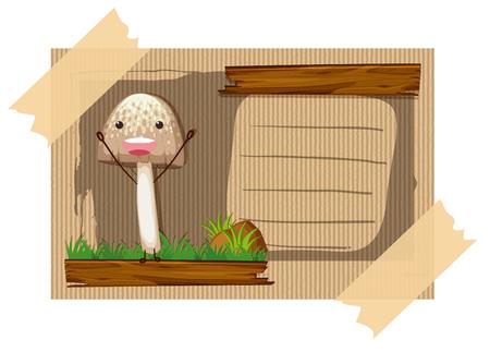 Cardboard card with happy mushroom illustration