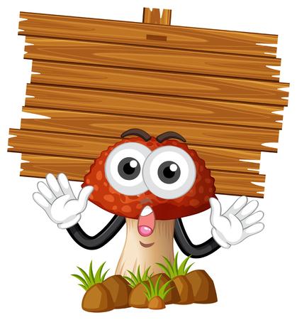 Wooden board and mushroom illustration