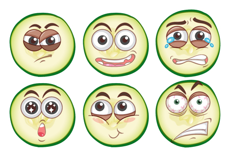 Different facial expressions illustration