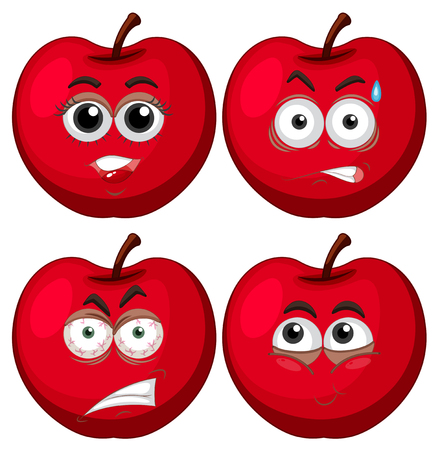 Four apples with facial expressions illustration