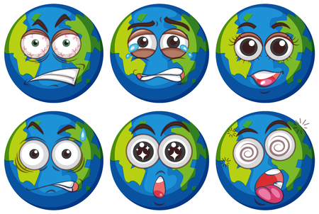 Facial expressions on earth illustration Vectores