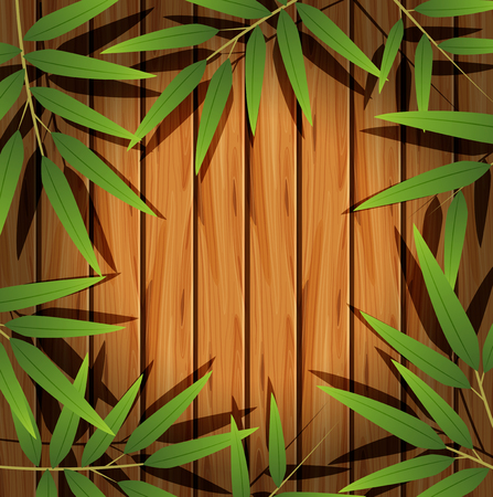 Border template with bamboo leaves illustration